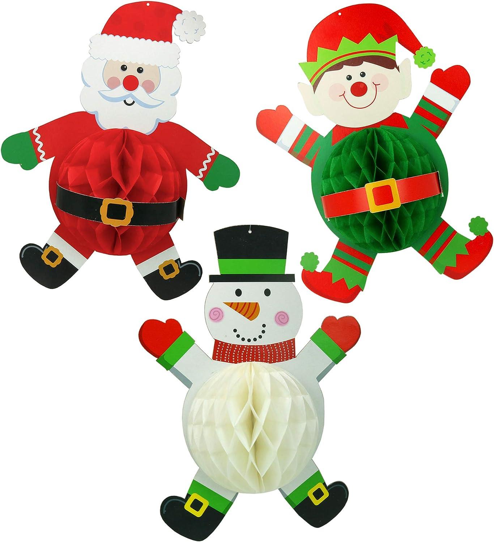 Big Mo's Toys Hanging Decorations - Santa Elf and Snowman Honeycomb Christmas Home Decor - 3 Pieces