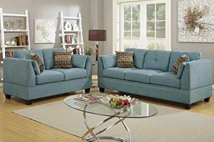 Amazon Com 2pcs Modern Hydra Blue Fabric Sofa Loveseat Set With
