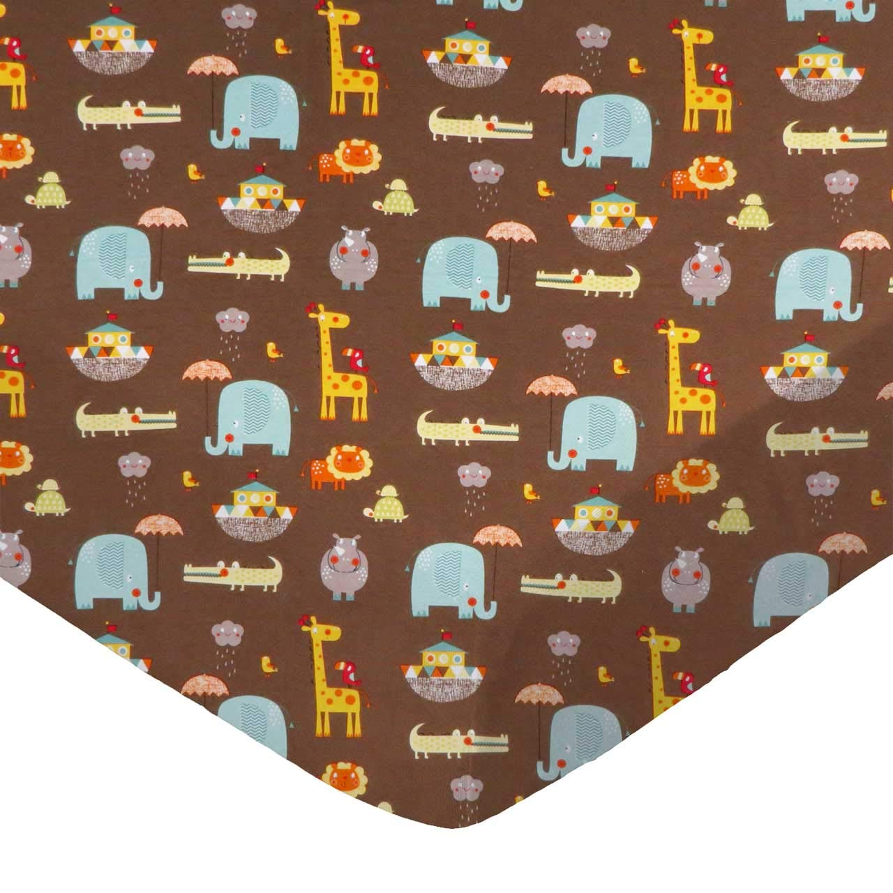 SheetWorld Fitted 100% Cotton Jersey Pack N Play Sheet Fits Graco Square Play Yard 36 x 36, Noahs Ark Brown, Made in USA