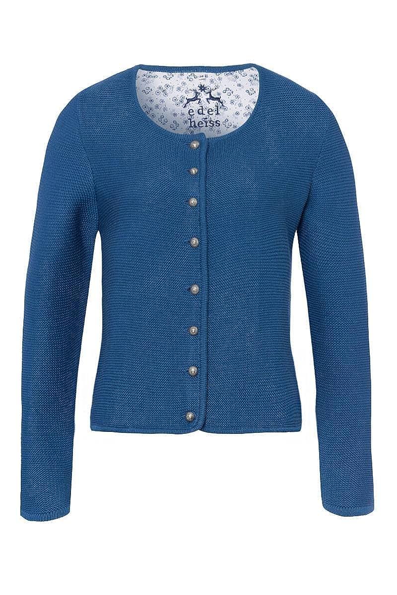 Edelheiss MOSER Trachten Trachten Strickjacke blau 005012, Material Baumwolle, Polyacryl, Rundhalsausschnitt