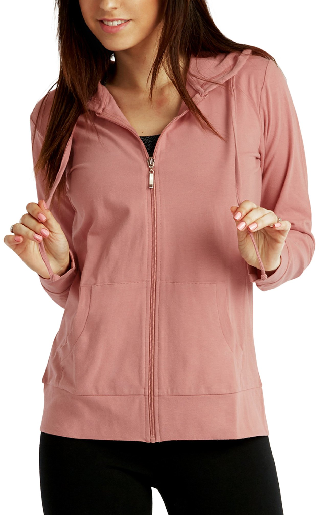ToBeInStyle Women's Thin Fabric L.S. Zip up Hoodie - Mauve - Small