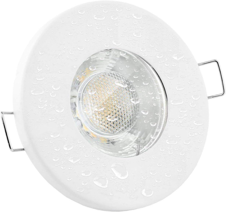 Linovum Led Einbaustrahler 6w Flach Ip65 Weiss Mit Wasserschutz Fur Bad Dusche Oder Aussen Inkl Gu10 Lampe Warmweiss 2700k Amazon De Beleuchtung