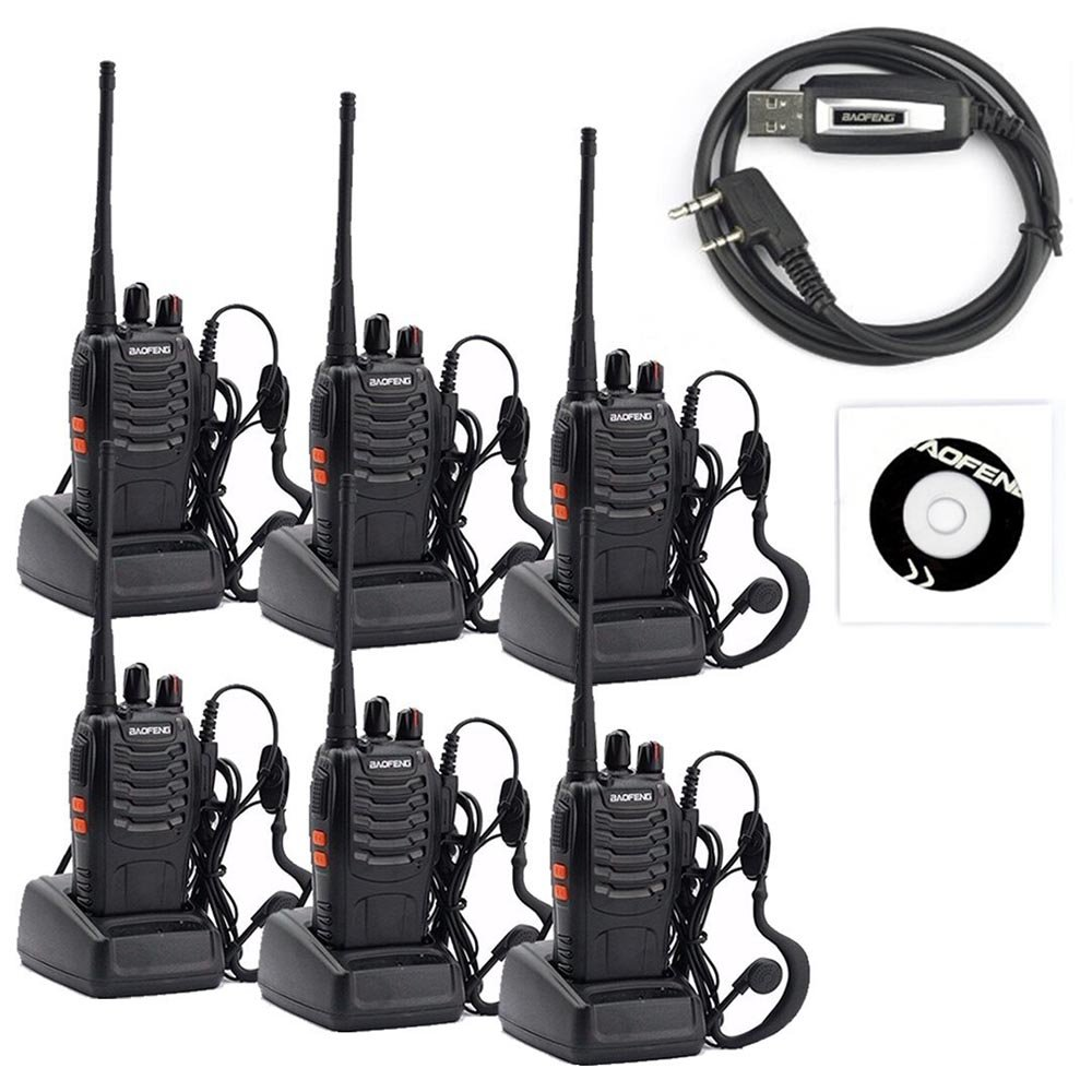 BaoFeng 6pcs BF-888S Walkie Talkies - Rechargeable Handheld Two Way Radio - Long Range Ham Radio with Original Earpiece for Travel, Camping (UBS Programming Cable Included)