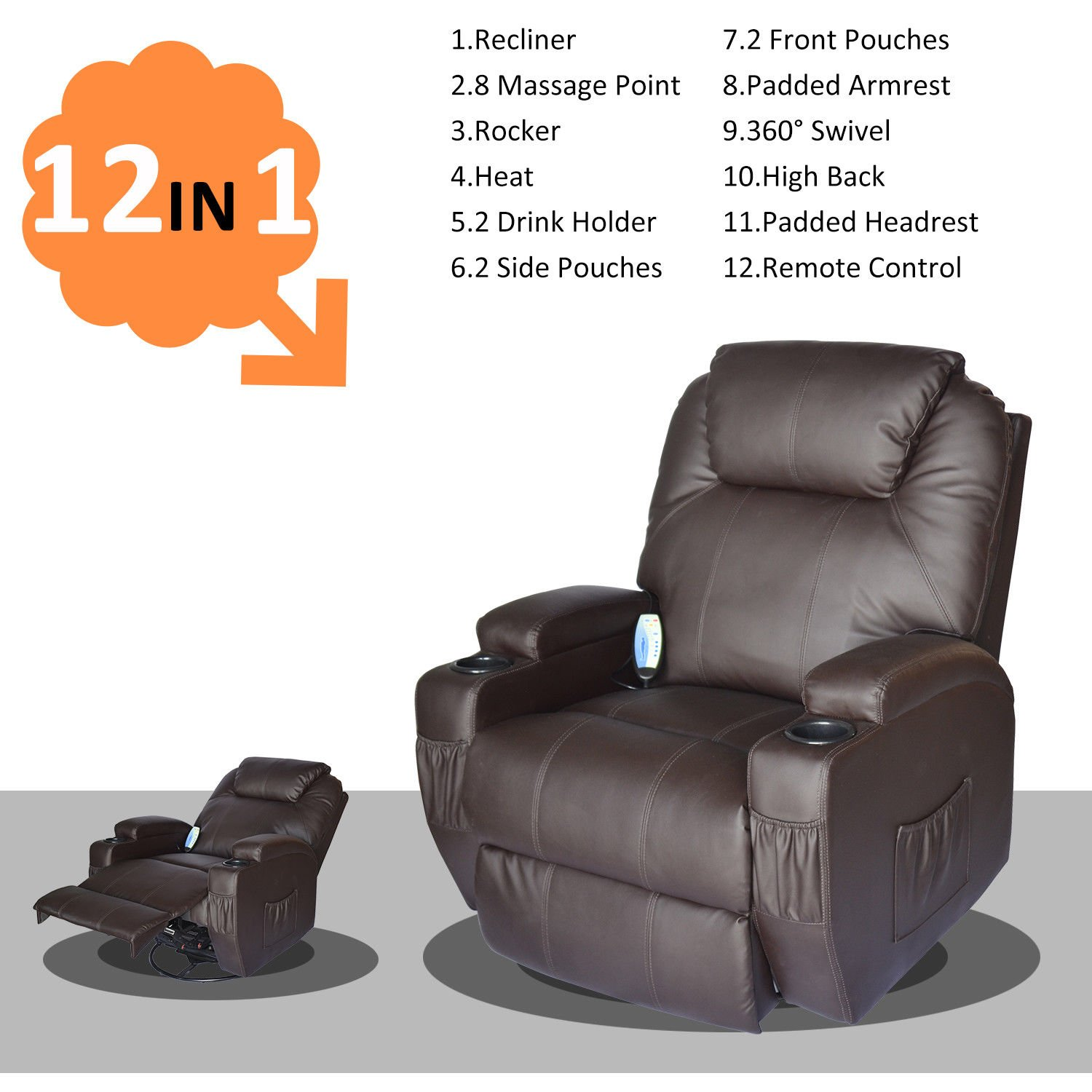 Amazon.com HomCom PU Leather Heated Vibrating 360 Degree Swivel Massage Recliner Chair with Remote - Brown Kitchen u0026 Dining  sc 1 st  Amazon.com & Amazon.com: HomCom PU Leather Heated Vibrating 360 Degree Swivel ... islam-shia.org