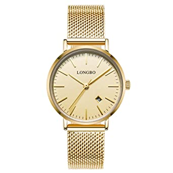 LONGBO Simple Couple Watches Stainless Steel Band Analog Display Quartz Women Watch Gold Ultra Thin Dial