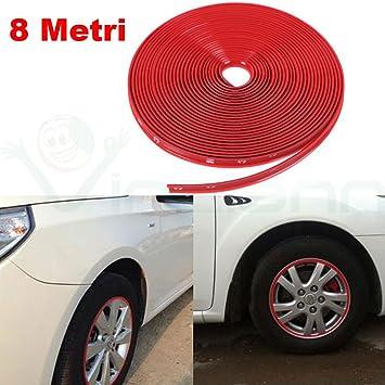 Cinta 8m adhesivo caucho tira anillos decorativos neumáticos de la llanta llantas del coche ROJO: Amazon.es: Electrónica
