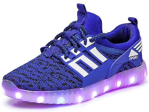 GJRRX LED Zapatos Primavera-Verano-Otoño Transpirable Zapatillas LED 7 Colores Recargables Luz Zapatos de Deporte de Zapatillas con Luces para Niños Niñas: ...