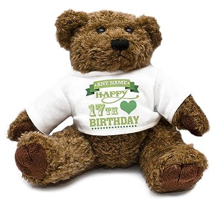 Personalizado verde 17th cumpleaños corazones oso de peluche para niños