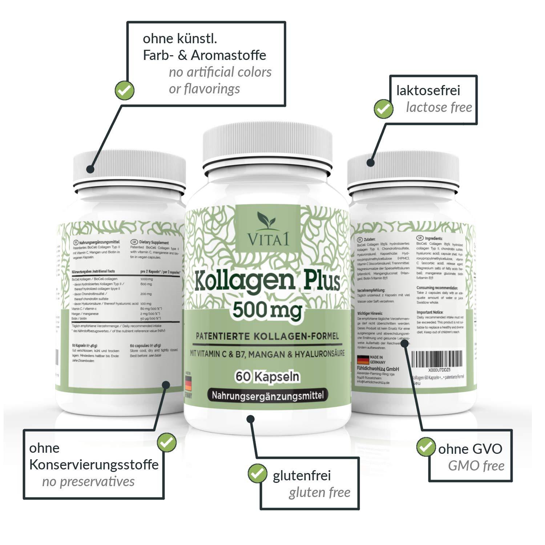 Cápsulas de Colágeno Plus 500mg de VITA1 • 60 cápsulas (un mes de suministro) • con Ácido Hialurónico, Condroitina, Manganeso, Biotina y Vitamina C • Hecho ...