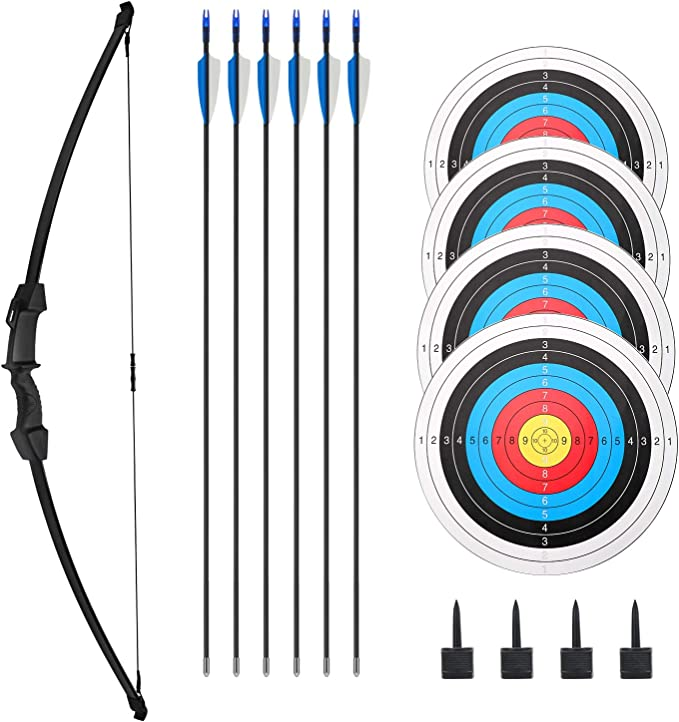 BESPORTBLE 5Pcs Fiberglass Archery Target Arrows Shooting Practice Arrows Outdoor Fun Game Toy Arrows for Youth Children Woman Beginner Black