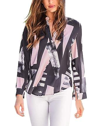 80a63b4e874 MixShe Women s Casual Shirt Long Sleeve Print Sheer Chiffon Blouse Top Black