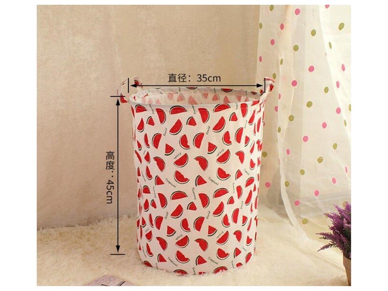 Gelaiken Lightweight Watermelon Pattern Storage Bag Cotton Bucket Sundries Storage Bucket(White+Red)