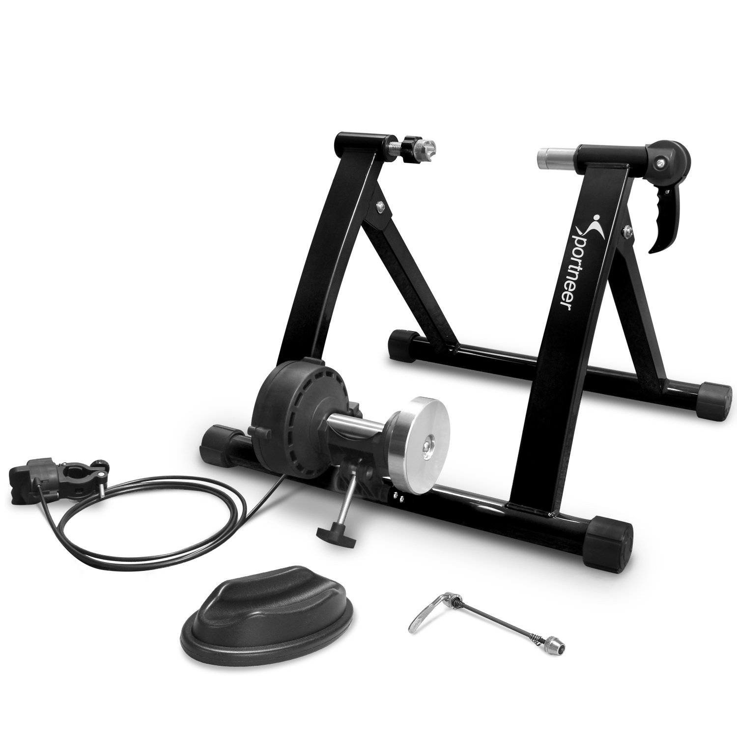 Sportneer Bike Trainer Stand Steel Bicycle Exercise Magnetic Stand with Noise Reduction Wheel, Black by Sportneer (Image #9)