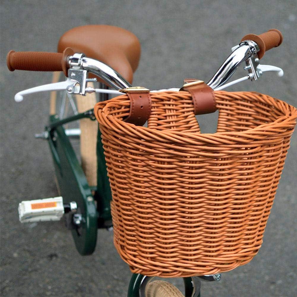 Cesta Delantera para Bicicleta Material de rat/án Natural Cesta Delantera para Bicicleta Impermeable para ni/ños Hecha a Mano para Bicicletas para ni/ños y ni/ñas Cestas para Bicicleta