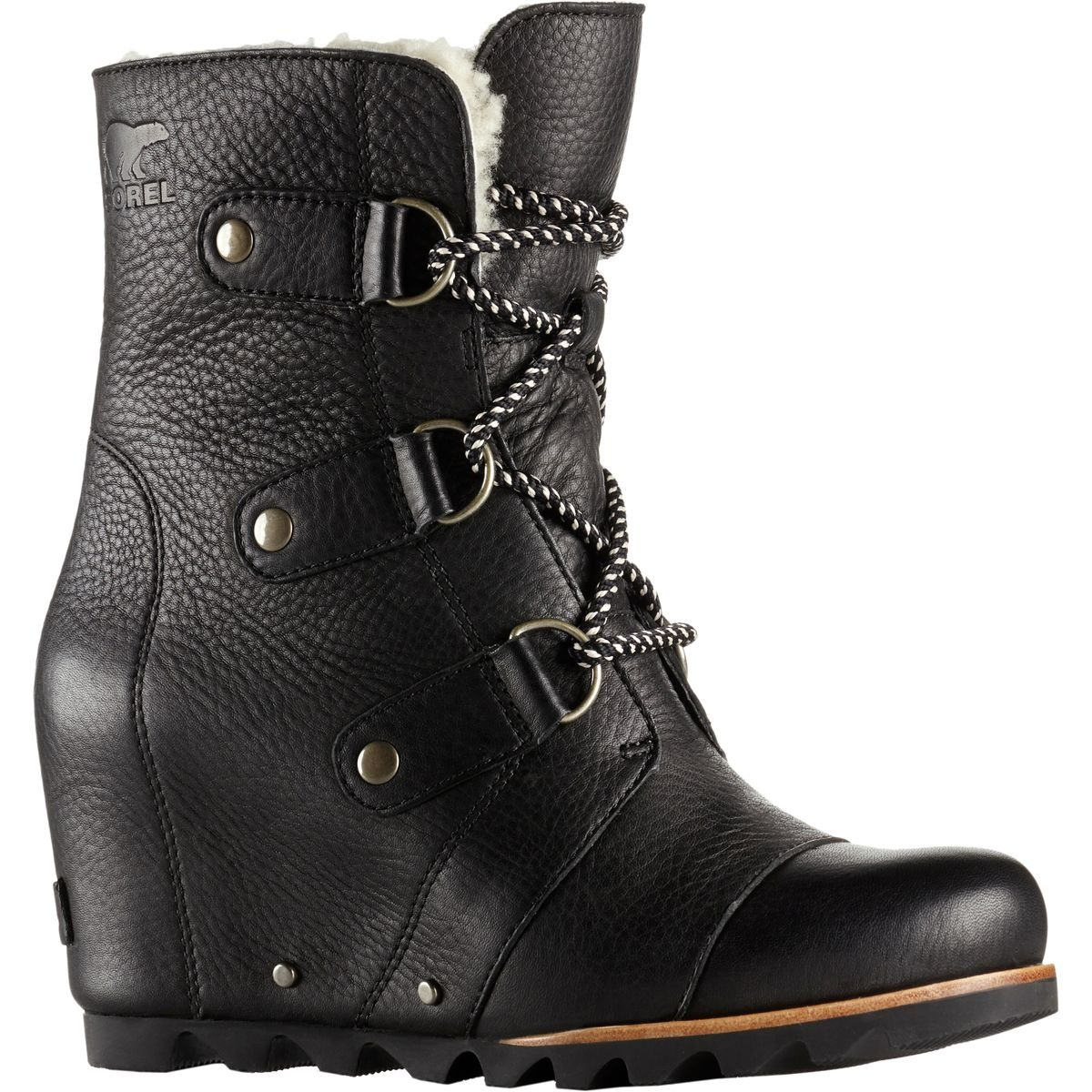 SOREL Women's Joan Of Arctic Wedge Mid Shearling Black/Ancient Fossil 12 B US by SOREL