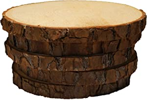 "5 Pack Round Rustic Woods Slices, 7""-9"", Unfinished Wood, Great for Weddings Centerpieces, Crafts"