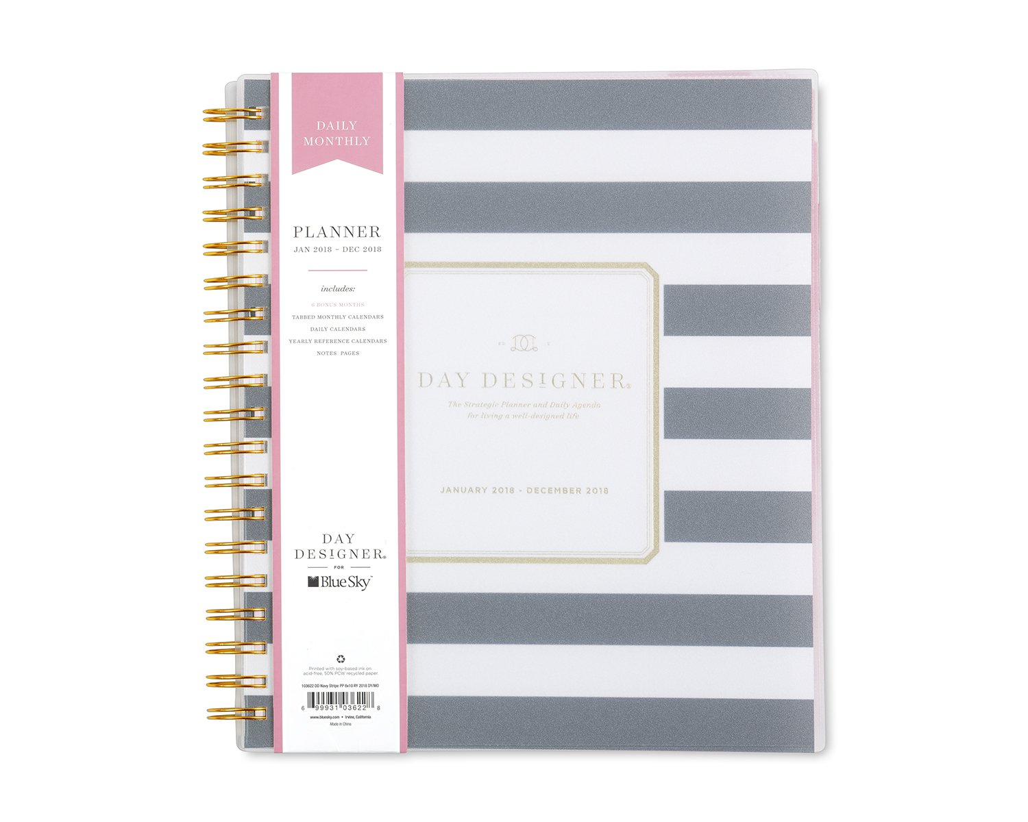 Day Designer for Blue Sky 2018 Daily & Monthly Planner, Twin-Wire Binding, 8'' x 10'', Navy Stripe