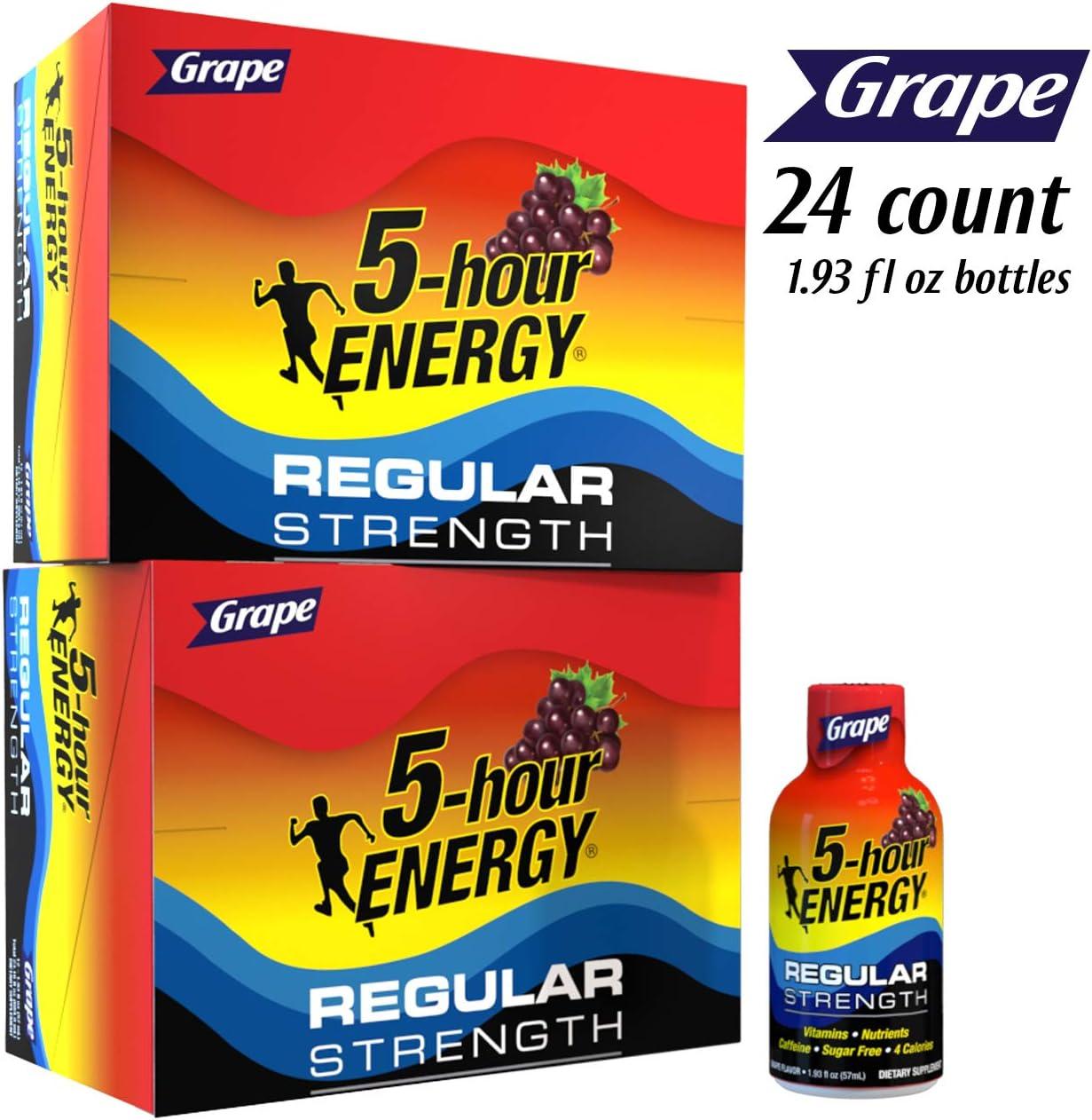 5-hour ENERGY Shot, Regular Strength Grape, 1.93 Ounce, 24 Count