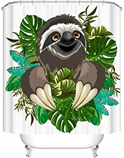 Livilan Funny Sloth Shower Curtain Set 72 X Decorative Mildew Resistant Waterproof Polyester