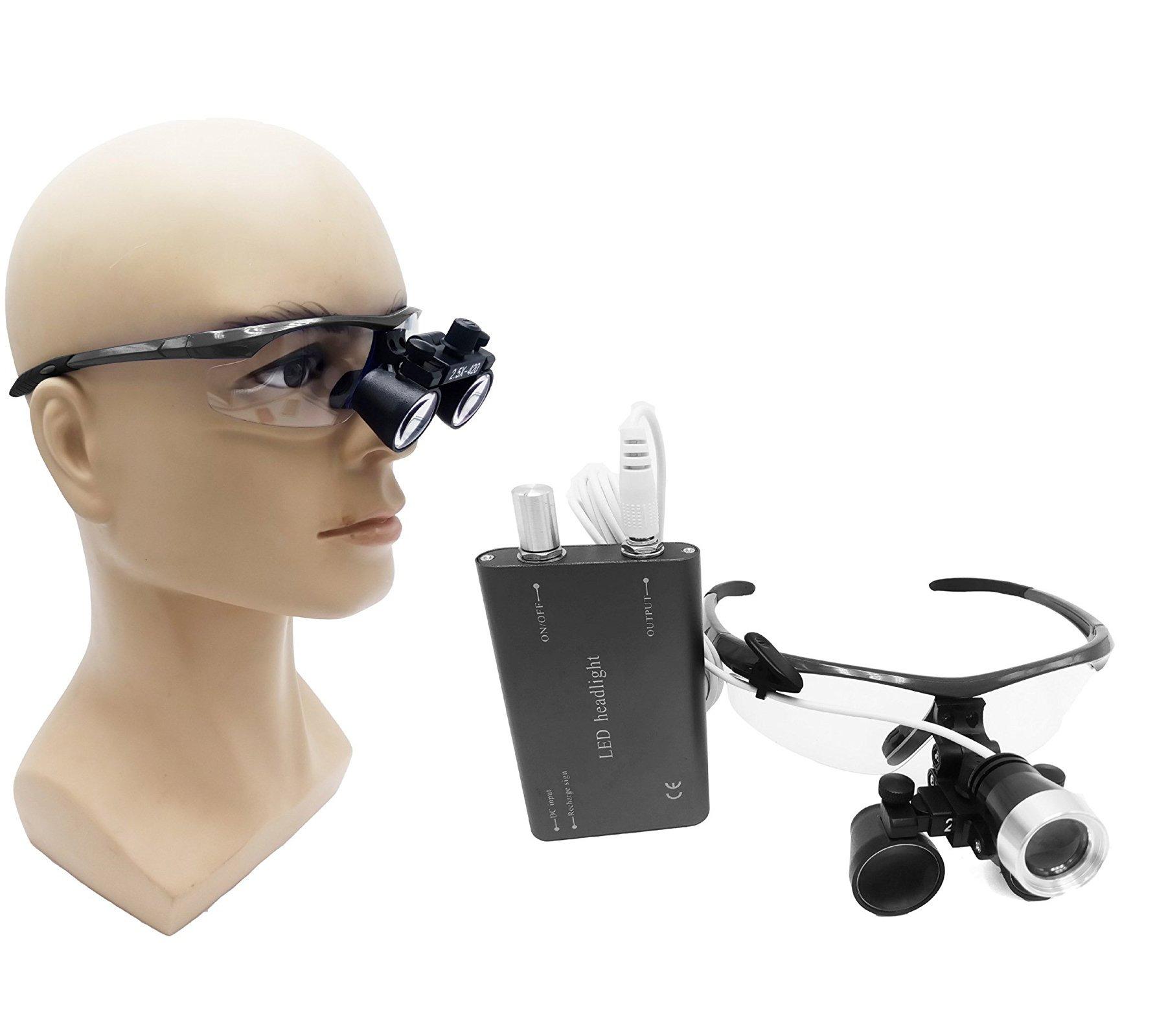 Zgood Portable Surgical Binocular Loupes 2.5X420mm Optical Glass + 3W LED HeadLight (Black) by ZGood