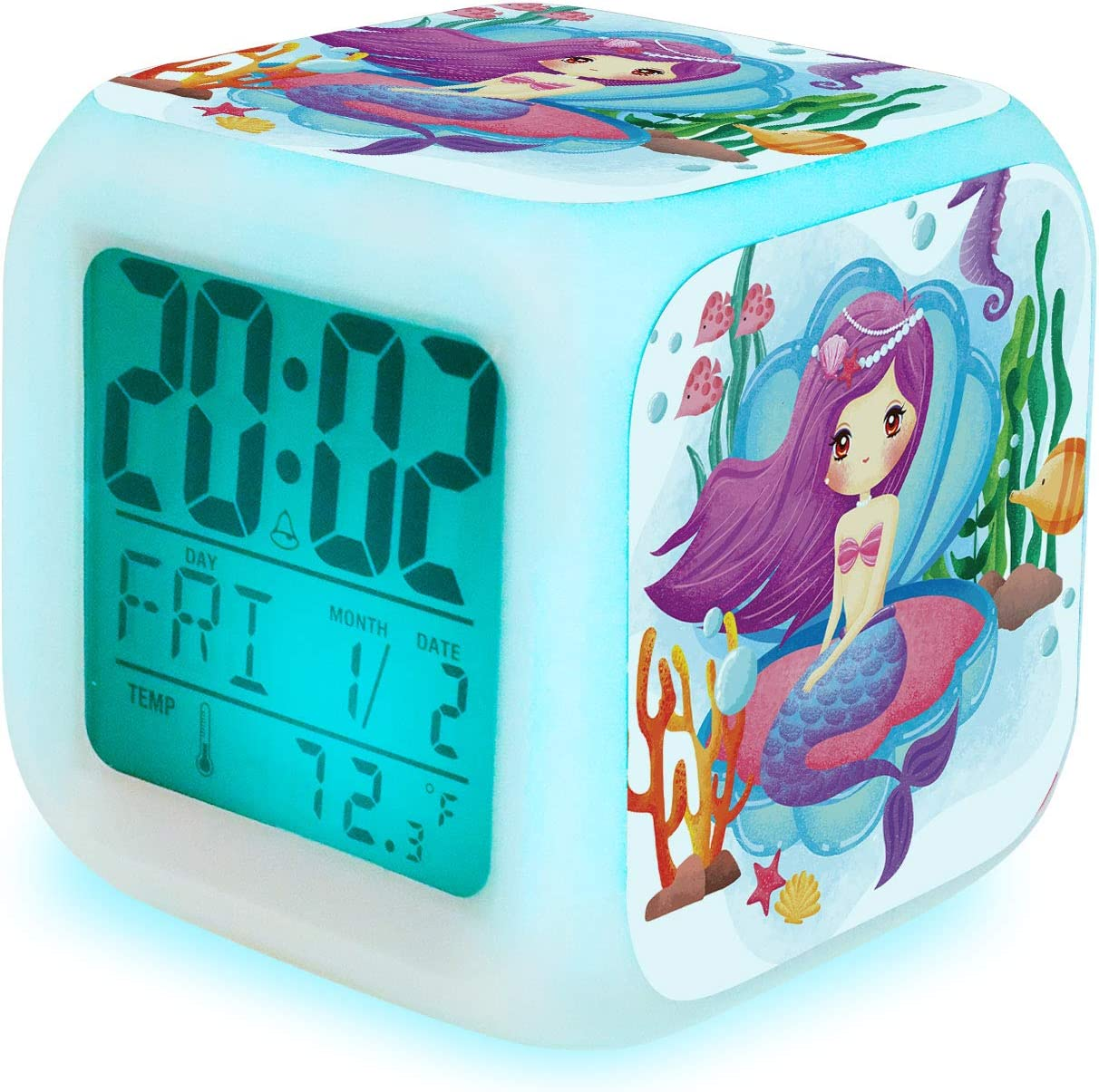 Fuyamp Mermaid Alarm Clock for Girls, Kids Digital Alarm Clock with 7 Color LED Light Wake Up Clock with Mermaid Girl Bedroom Decor for Christmas, School Begins and Birthday Gifts