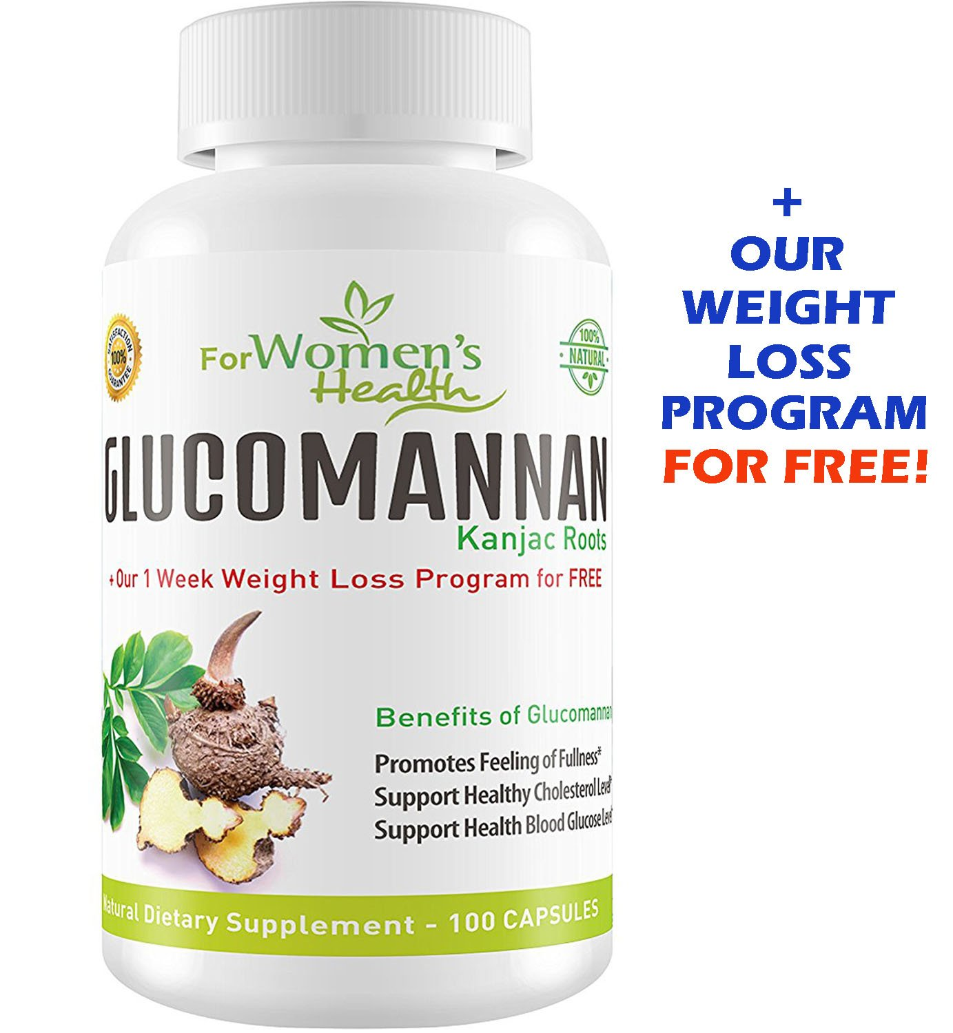 Glucomannan Capsules from Konjac Root Powder - Glucomannan Weight Loss Pills + Our Weight Loss Program For Free - Natural Safe Appetite Suppressant For Women - 100 Capsules - 700 mgs