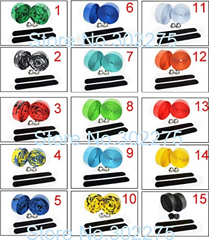 1Pair Cycling Road Bike Bicycle Sports Cork Handlebar Drop Bar Tape 2 Bar Plug