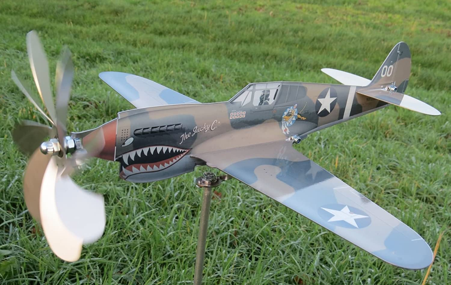maxFlite.de P-40 Kittyhawk airplane wind wheel/ spinner; propeller turns when wind; stainless steel