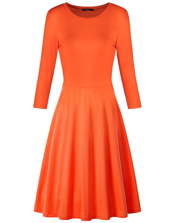 OUGES Women's 3/4 Sleeve Casual Flare Dress(Orange,M)