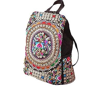 Mefly Mujeres calientes flor bordada artesanal Bolsa tendencia nacional lienzo bordado Mochila étnicos bolsas de viaje mochilas escolares,Multicolor: ...
