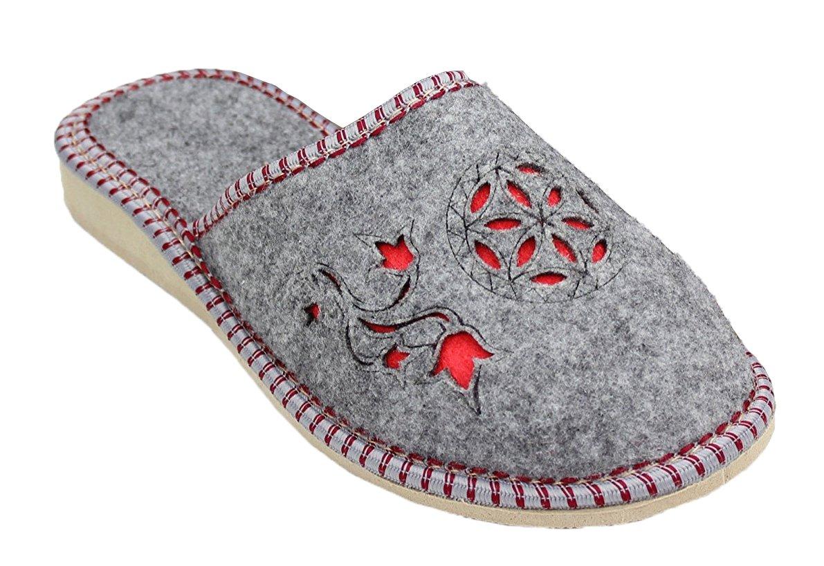 Filzpantoffel chaussons semelles en feutre femme latschen B01N43A9CJ schlappen gris - feutre avec semelles en caoutchouc Gris - Gris/rouge a69e566 - reprogrammed.space