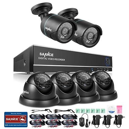 SANNCE kit de 6 cámaras de vigilancia TVI sistema de seguridad (H.264 Onvif