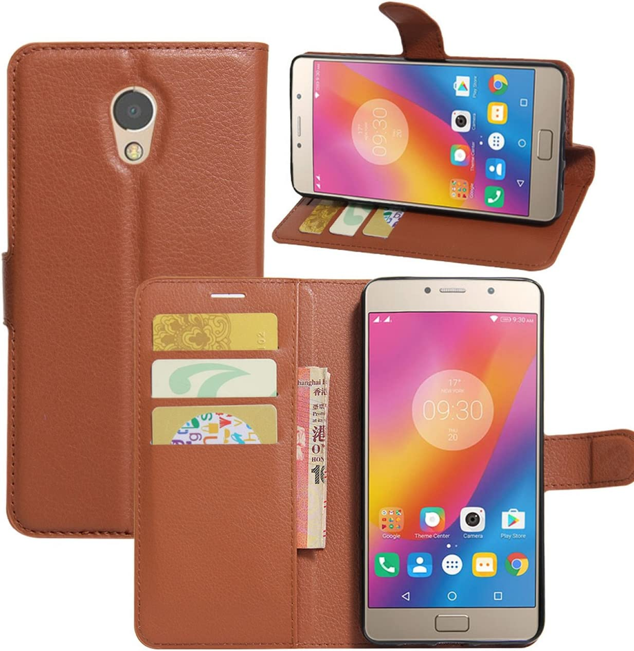 Lenovo Vibe P2 Case, Fettion Premium PU Leather Wallet Phone Protective Flip Case Cover with Stand Card Holder for Lenovo Vibe P2 Smartphone (Brown)