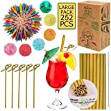 Drink Umbrellas with Bamboo Straws and Picks - 212 pcs Set for Drinks and Appetizers. BPA Free, Organic.100 Cocktail…