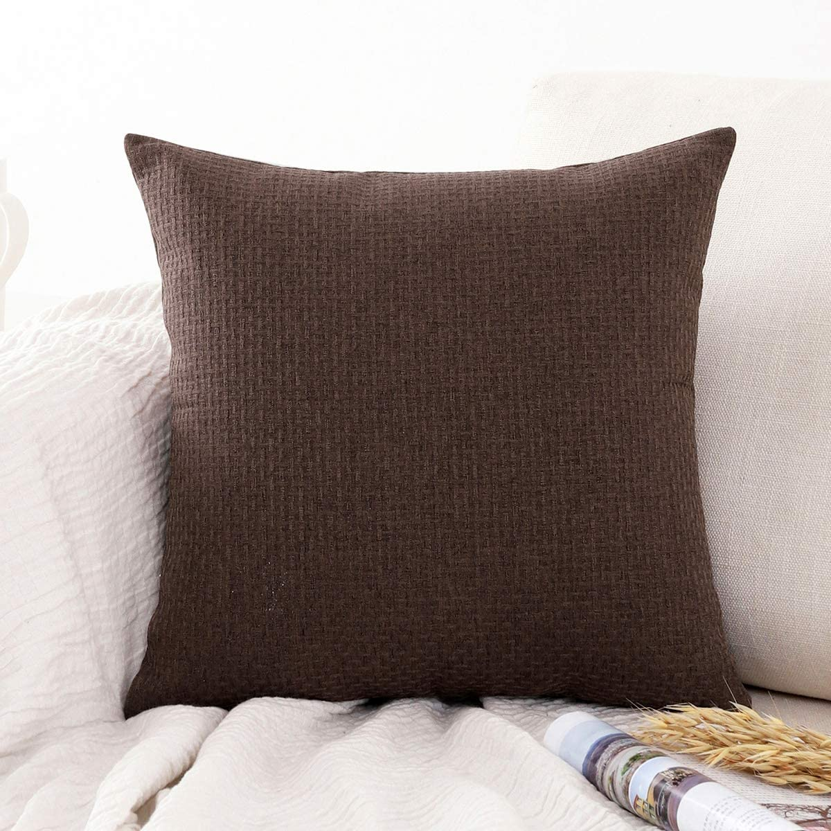 Jepeak Comfy Cotton Linen Throw Pillow Cover Rattan Weaved Pattern Cushion Case, Solid Thickened Farmhouse Modern Decorative Square Pillow Case for Sofa Couch Bed (Coffee, 24 x 24 Inches)