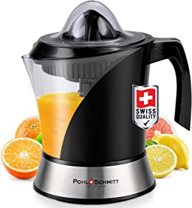 Pohl+Schmitt Deco-Line Citrus Juicer Machine Extractor - Large Capacity 34oz (1L) Easy-Clean, Featuring Pulp Control Technology BPA Free