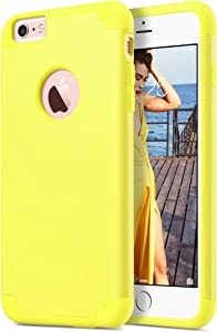 ULAK Slim Protective Case Compatible iPhone 6 Plus, iPhone 6S Plus Hybrid Soft Silicone Hard Back Cover Anti Scratch Bumper Case (Yellow)