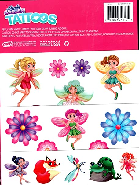 Amazon.com: Savvi Magic Garden - Temporary Tattoos - 25 ...