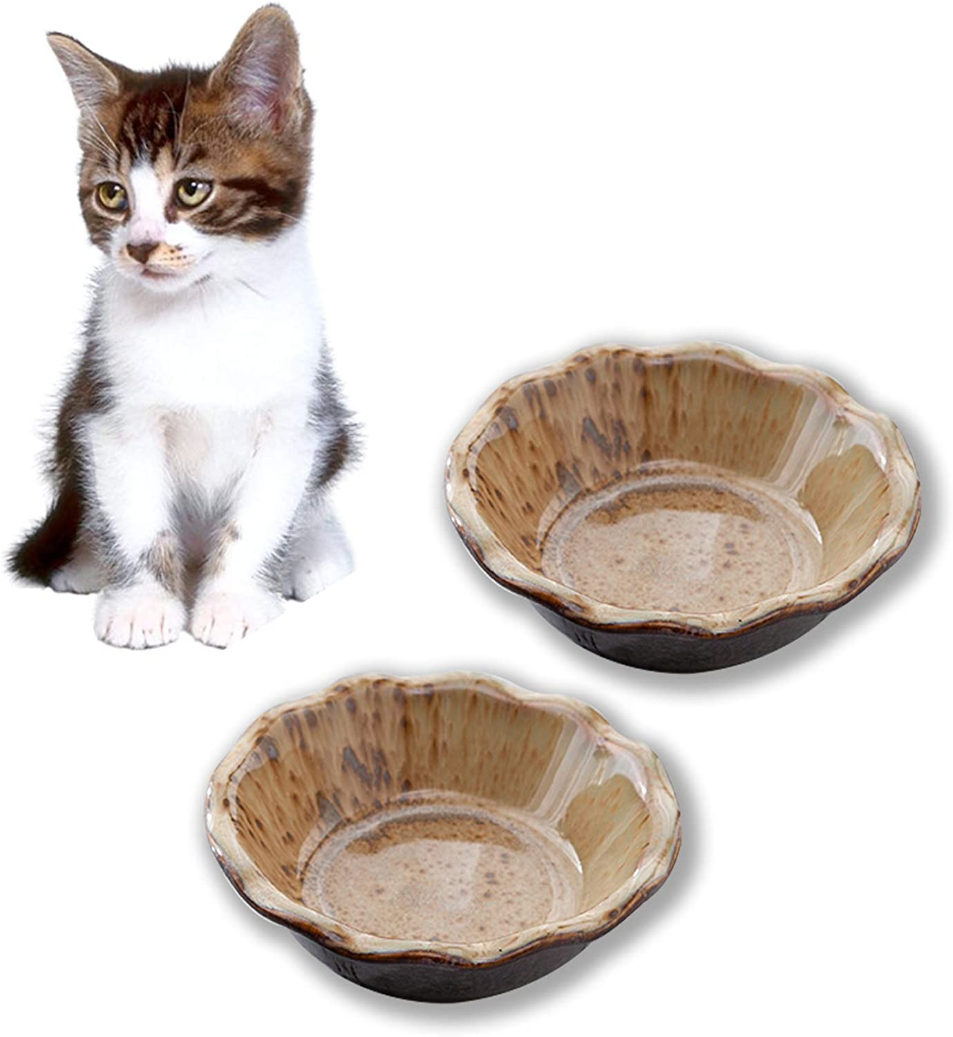 Jemirry Basic Cat Food Bowl, Wide Cat Dish, Ceramic Cat Food Bowl for Relief of Whisker Fatigue, Pet Food & Water Bowls Set of 2
