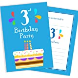 New pack of 20 3rd birthday party invitations boy invites with 3rd birthday party invitations 3 candle blue cake design a6 postcard size with envelopes filmwisefo
