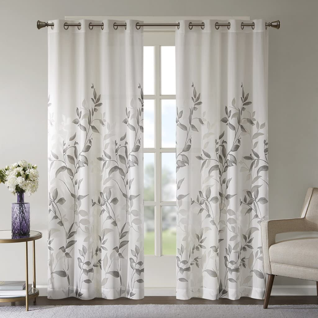 "Sheer Curtains for Bedroom, Modern Contemporary Linen Natural Sheer Curtains 84 inches Long for Living Room, Cecily Botanical Modern Grommet Sheer Curtain, 50"" W X 84"" L, 1-Panel Pack"