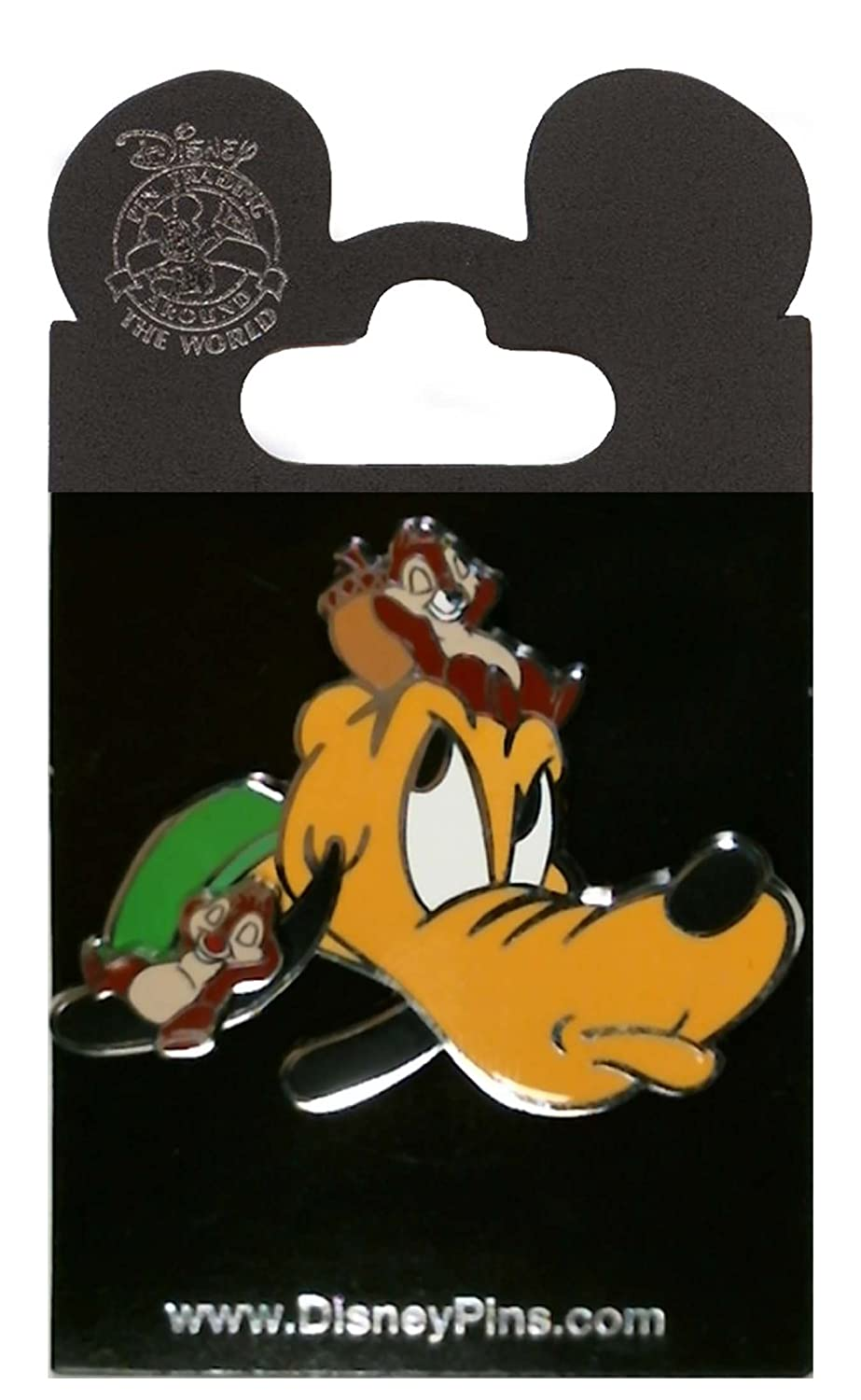 Disney Pin - Pluto with Chip and Dale on his Head