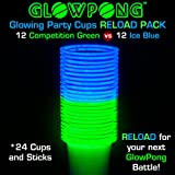 GLOWPONG Glowing Party Cups RELOAD Pack (24 Cups & Sticks) - 12 Competition Green vs 12 Ice Blue