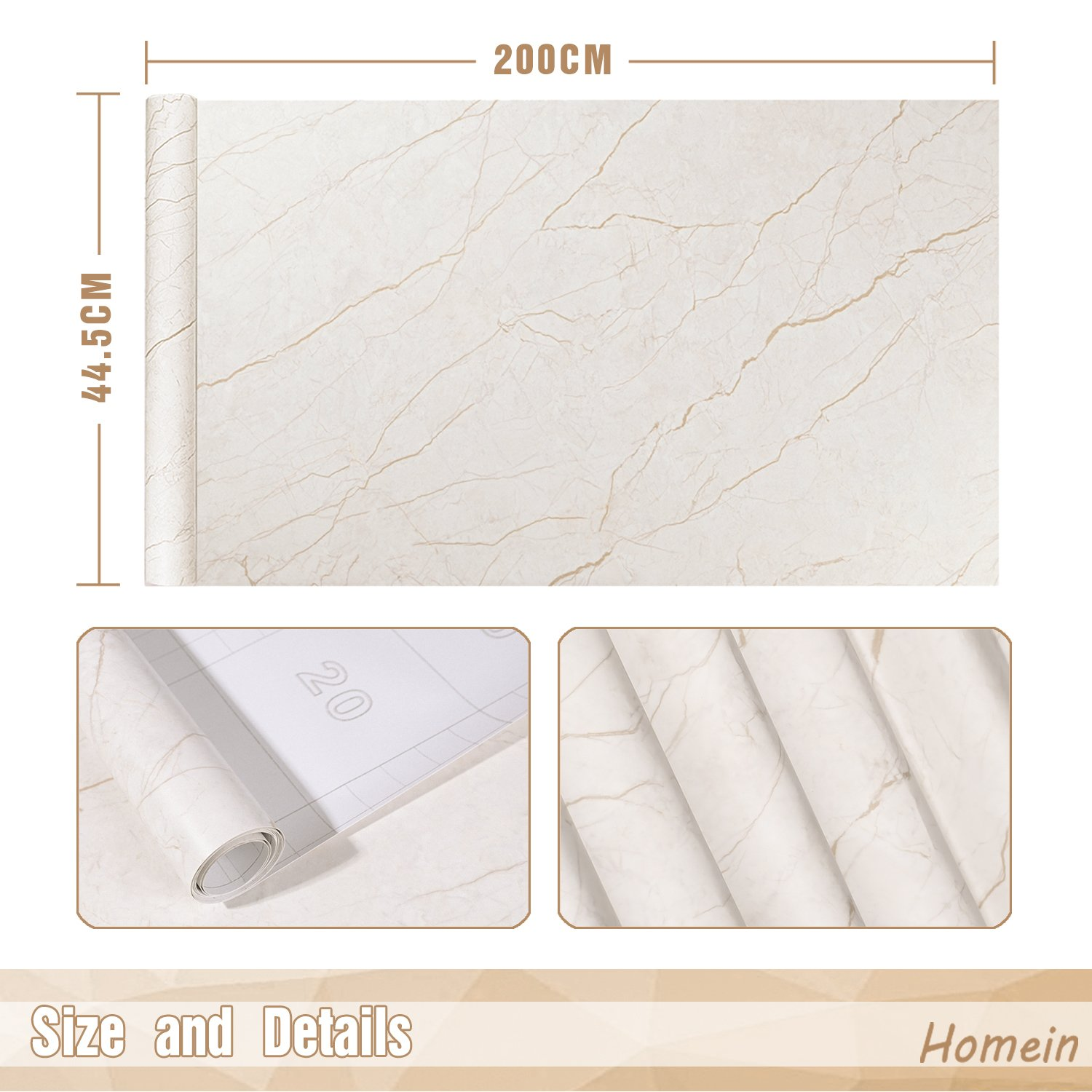 Marble Contact Paper Film Peel and Stick Countertops Vinyl Wallpaper Sticker, Authentic Marble Look, Durable,Waterproof for Home and Office 17.5 by 78.7 Inches(44.5 x 200cm) by Homein (Image #5)