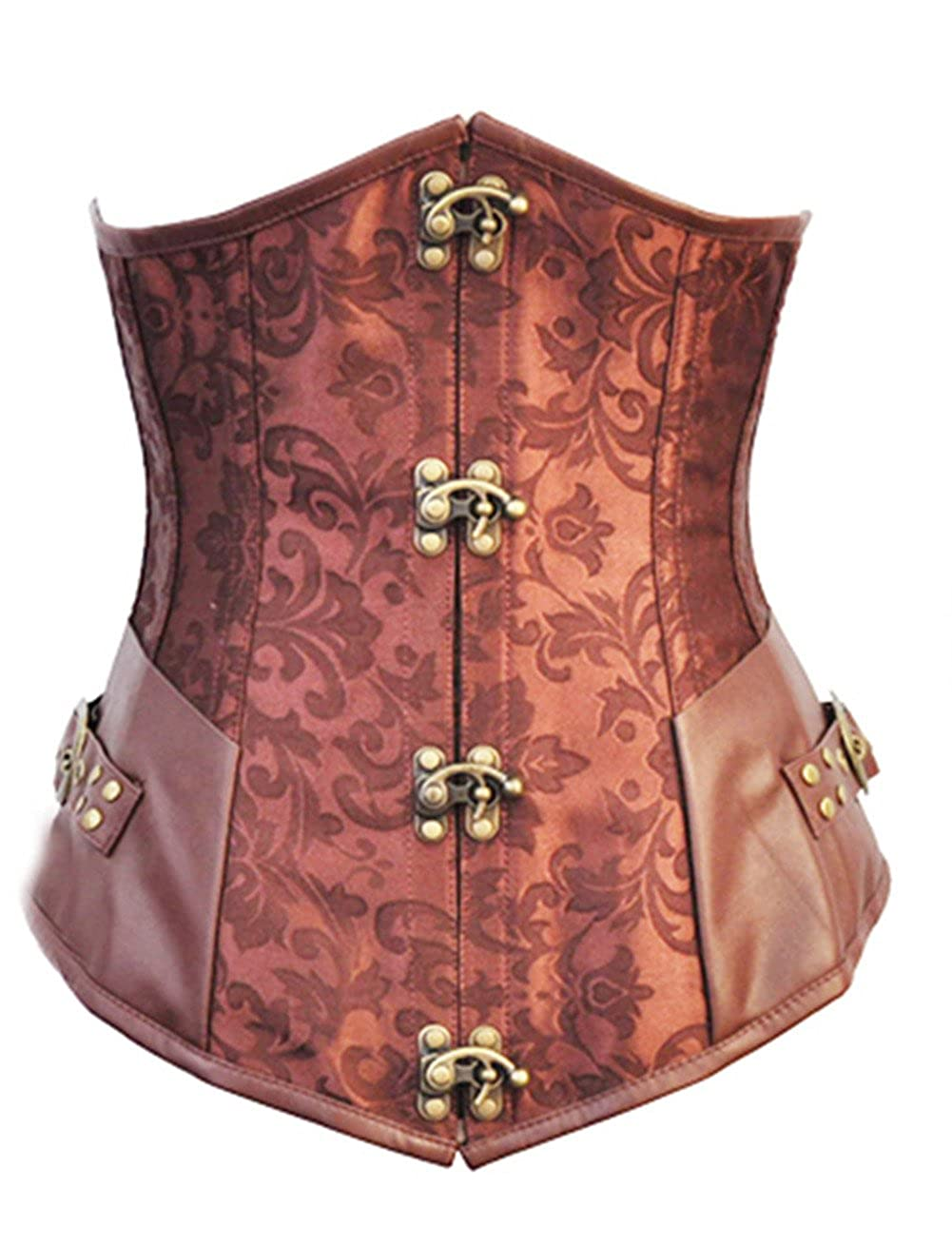 Women's Retro Goth Steel Boned Brocade Vintage Steampunk Corset Bustier Top