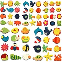 Chris.W 48pcs Assorted Color Wooden Magnetic Fun Bright Colorful Preschool Toddler Toy Color and Shapes Learning Refrigerator Magnets Fridge Stickers