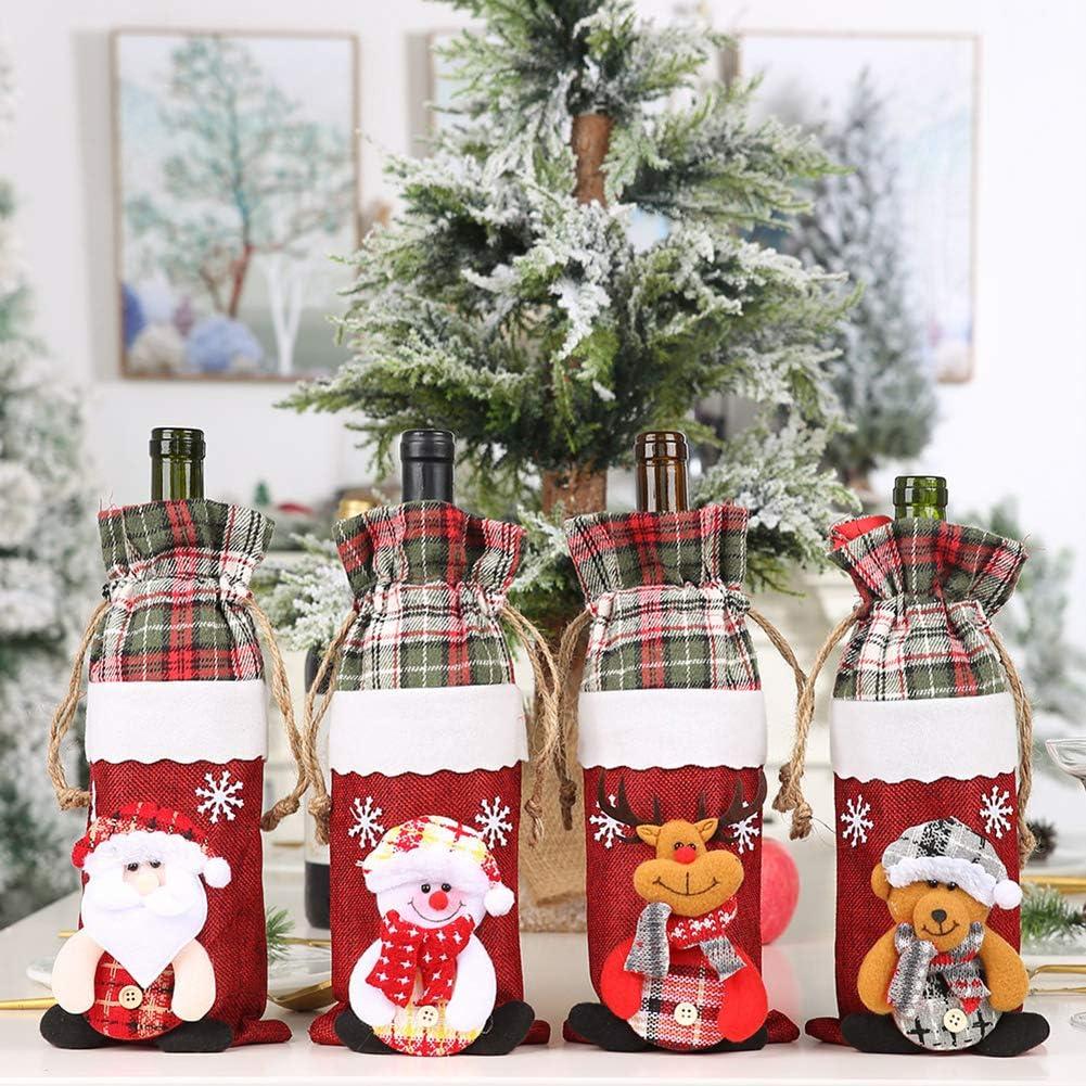 Christmas Wine Bottle Sleeve Cover Cute Snowman Elk Santa Gifts Xmas Decoration