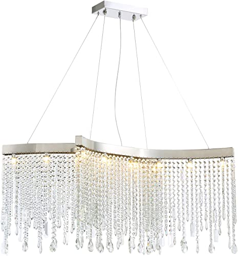 NOXARTE Modern Crystal Rectangular Chandelier LED Tassels Linear Ceiling Light Fixture