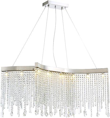 Amazon Com Noxarte Modern Crystal Rectangular Chandelier Led Tassels Linear Ceiling Light Fixture For Dining Room Kitchen Island Bedroom L39 X W13 8 X H14 6 Home Improvement
