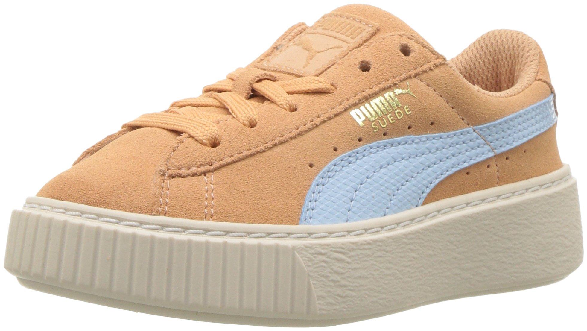 PUMA Unisex-Kids Suede Platform SNK Kids Sneaker, Dusty Coral-Cerulean Team Gold, 4 M US Big Kid